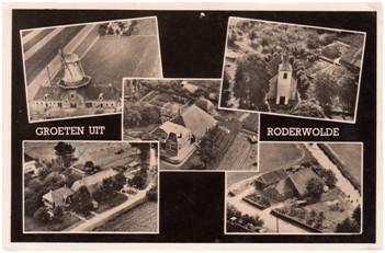 Ansichtkaart van Roderwolde uit de jaren twintig van de vorige eeuw.