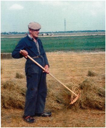 Jan Eeuwema, laatste boer Enumahoeve, in het hooiland.