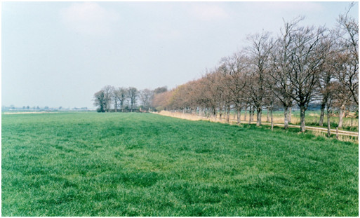 Rechts op de voorgrond lag de oude pastorie van Roderwolde.